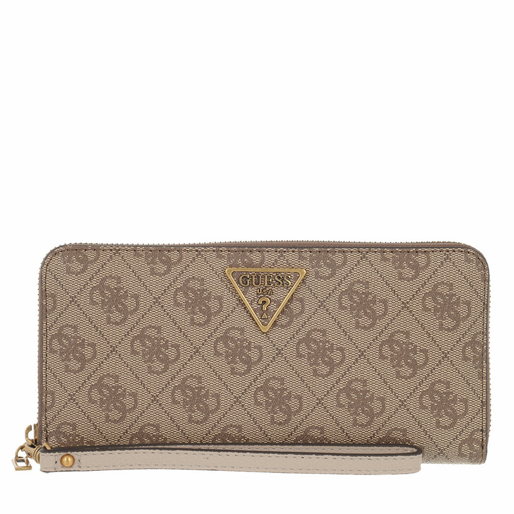 wallets, Guess, Noelle Slg Large Zip Around Latte