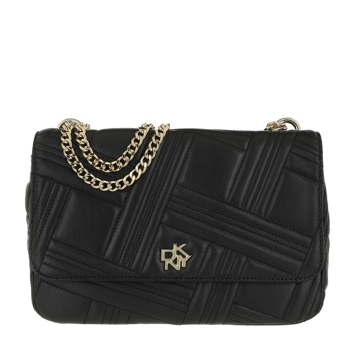 bags, DKNY, Alice Large Flap Should Blk/Gold