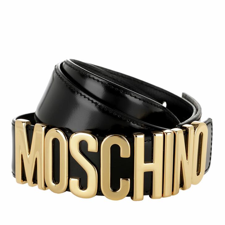 Gürtel, Moschino, Calf Leather Logo Belt Black/Gold