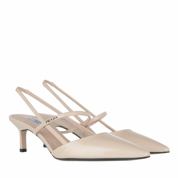Schuh, Prada, High Slingbacks Leather Beige