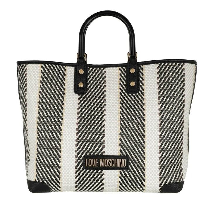 Handtasche, Love Moschino, Borsa Woven+Pu  Nero/Bianco