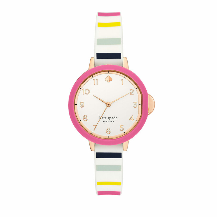 Uhr, Kate Spade New York, Park three-hand silicone watch Multicolored/Rosegold striped