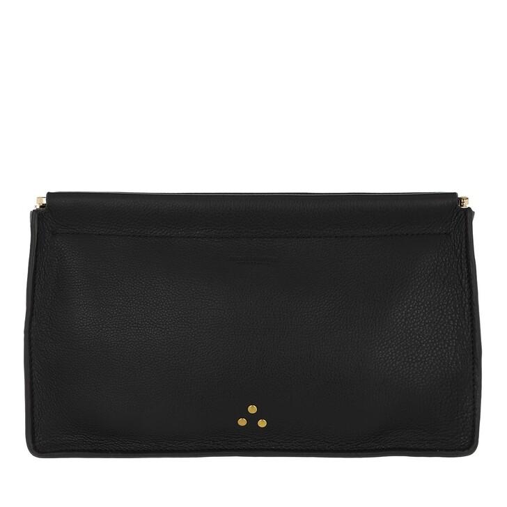Handtasche, Jerome Dreyfuss, Clic Clac Large Clutch Noir Brass