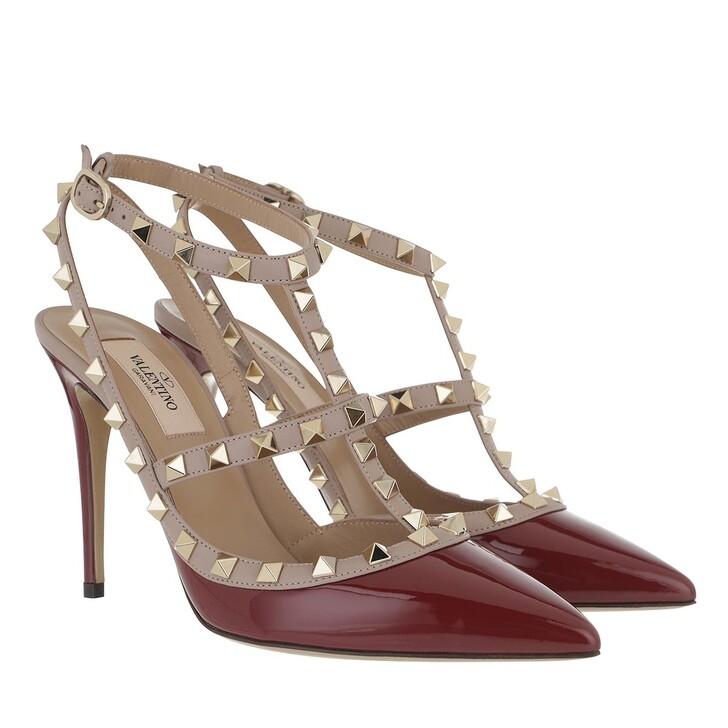 Schuh, Valentino Garavani, Rockstud Ankle Strap Patent Pump Cerise/Poudre