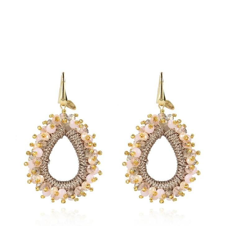 Ohrring, LOTT.gioielli, Glass Silk Urchin Drop M Earrings Champagne Mix