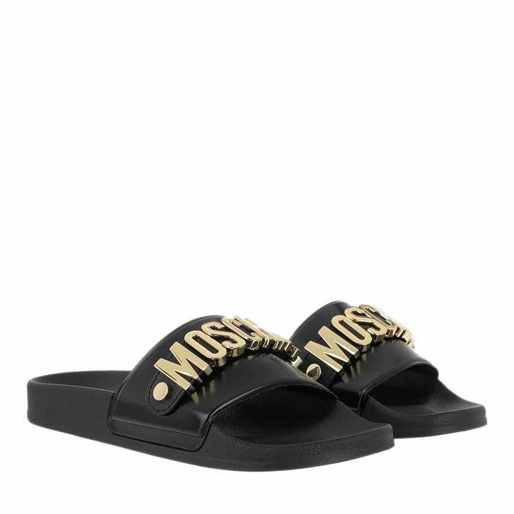 Schuh, Moschino, Sabotd.Pool25 Pvc Logo Mule Nero/Oro