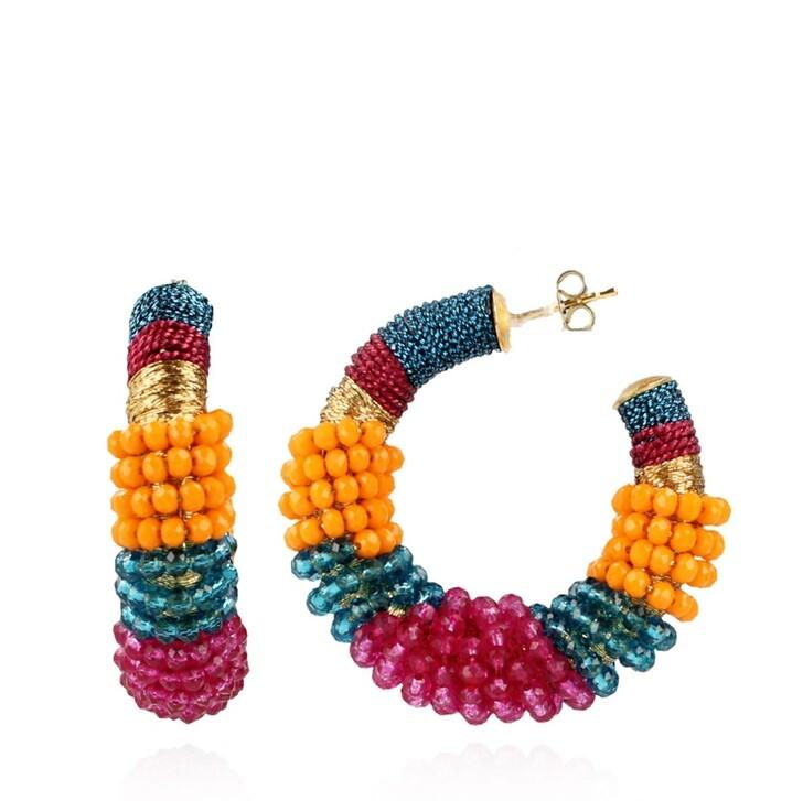 Ohrring, LOTT.gioielli, Glassberry Creole Silk Combi Round M Multicolor