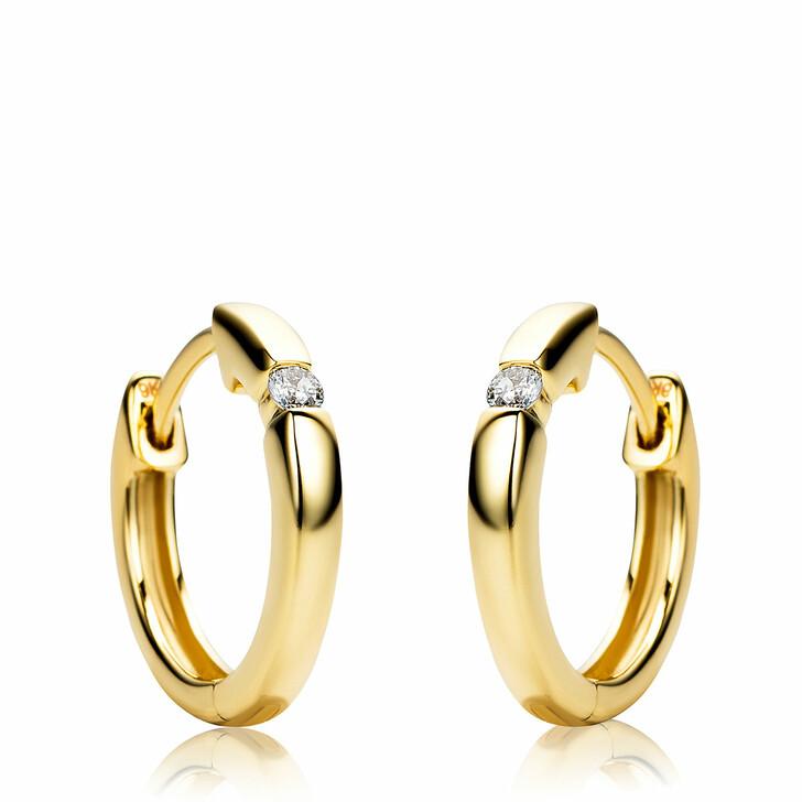 earrings, BELORO, 9KT Diamond Creole Earring Yellow Gold