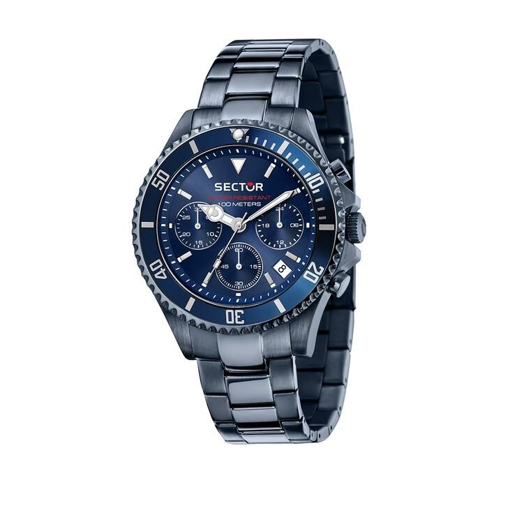 watches, Sector, 43Mm Ip Blue Case Chrono Mvt Blue Dial Bracelet Blue