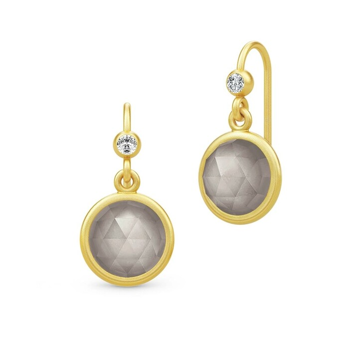 Ohrring, Julie Sandlau, Moon Earrings Gold/Grey