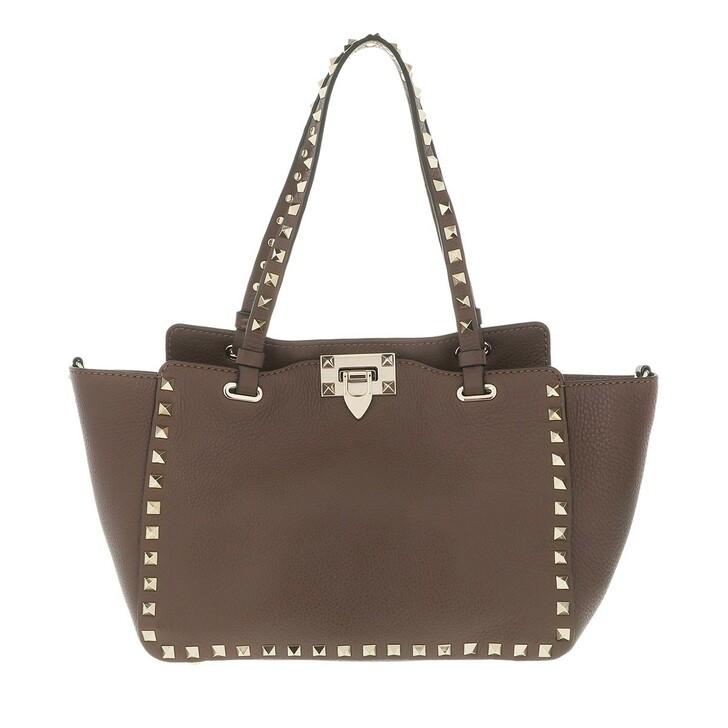 Handtasche, Valentino, Rockstud Tote Bag Deep Taupe