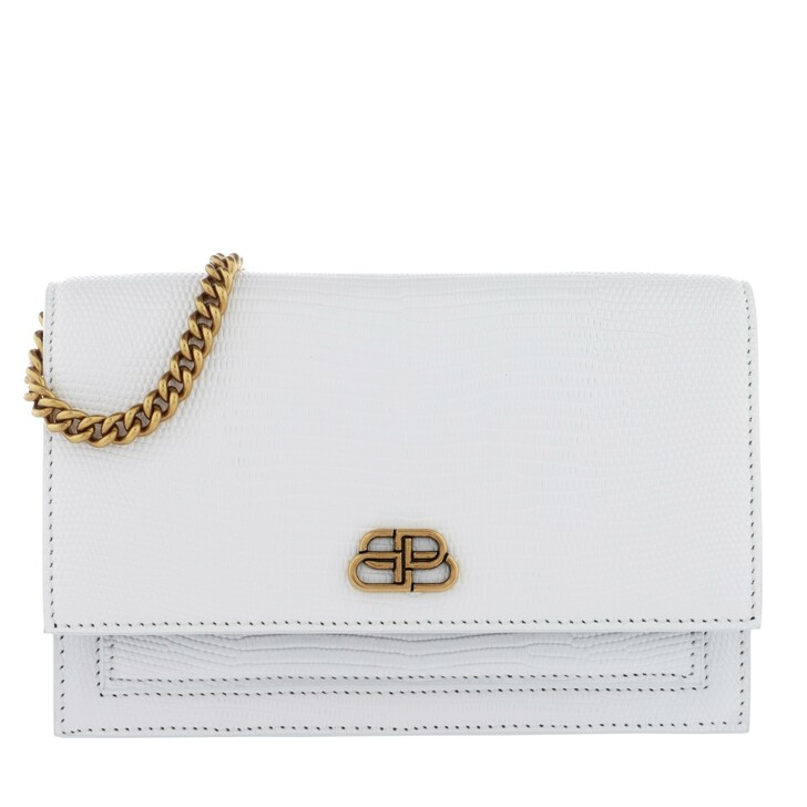 Handtasche, Balenciaga, Sharp Clutch With Pocket On Chain Leather White