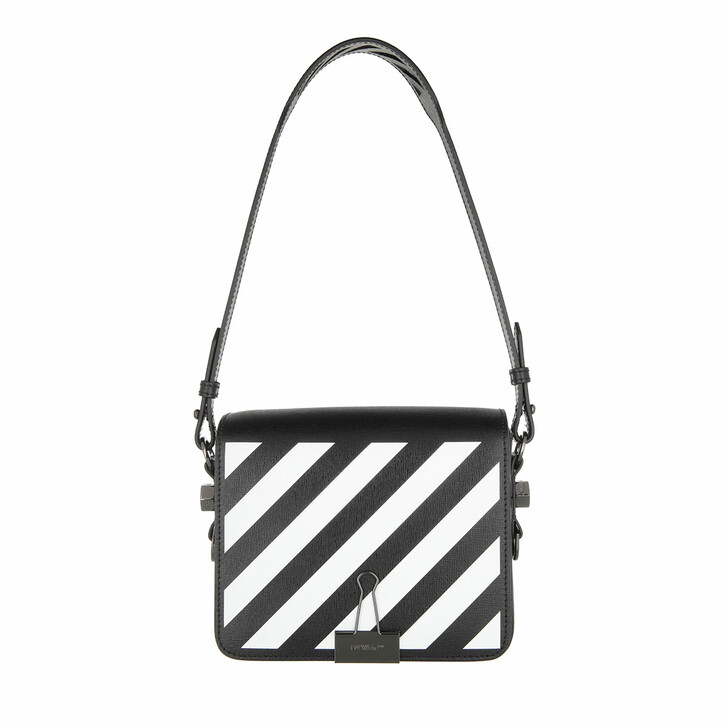 Handtasche, Off-White, Diag Flap Black White