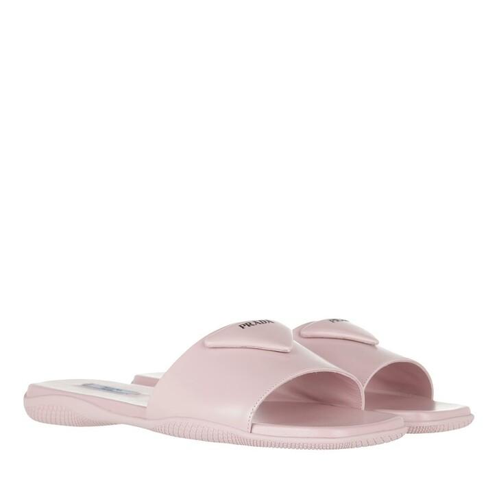 shoes, Prada, Flat Sandals Leather Alabaster Pink