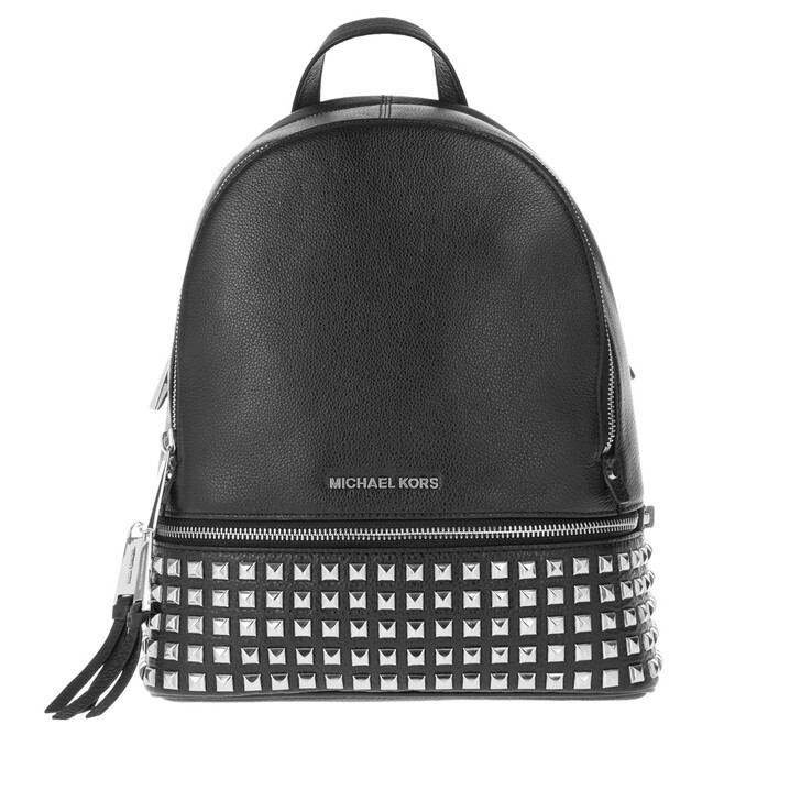 Reisetasche, MICHAEL Michael Kors, Rhea Zip Medium Pyr Stud Backpack Black/Silver