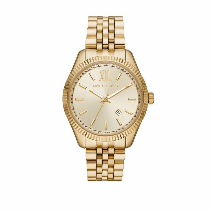 Uhr, Michael Kors, Men Lexington Three-Hand Date Stainless Steel Watc Gold