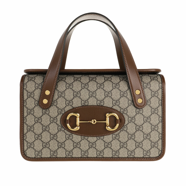 Handtasche, Gucci, Small Horsebit 1955 Top Handle Bag Leather Beige Ebony/Brown Sugar