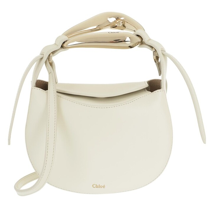 bags, Chloé, Small Kiss Shoulder Bag Grained Leather Natural White