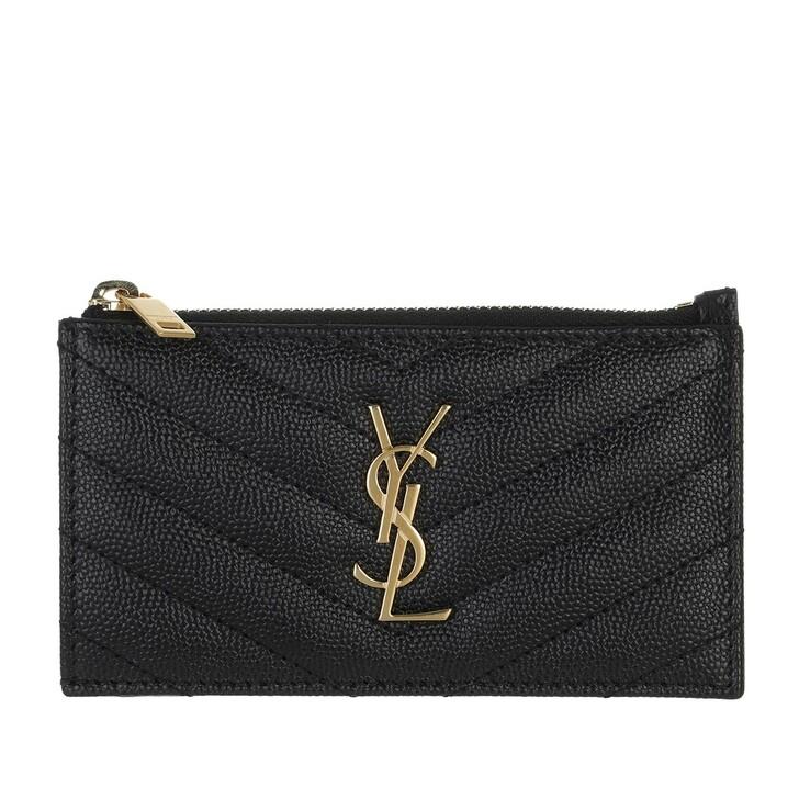 Geldbörse, Saint Laurent, Monogram Fragments Zippered Card Case Leather Black