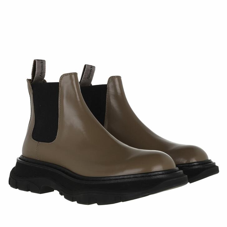 shoes, Alexander McQueen, Bootie Smooth Leather Grau/Beige