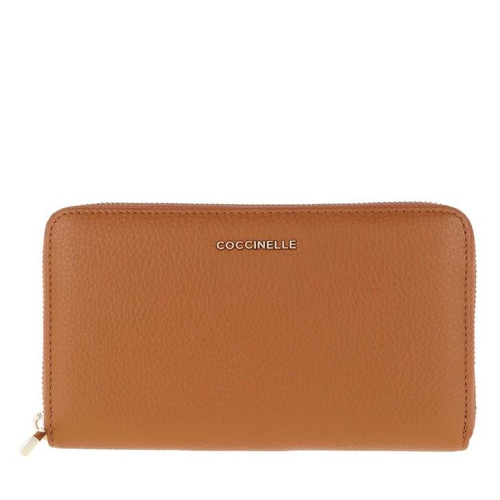 wallets, Coccinelle, Metallic Soft Caramel