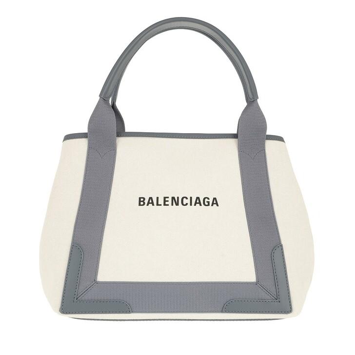 bags, Balenciaga, Navy Cabas S Tote Natural/Grey
