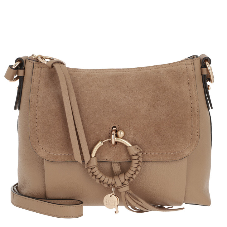 bags, See By Chloé, Joan Grained Shoulder Bag Leather Coconut Brown