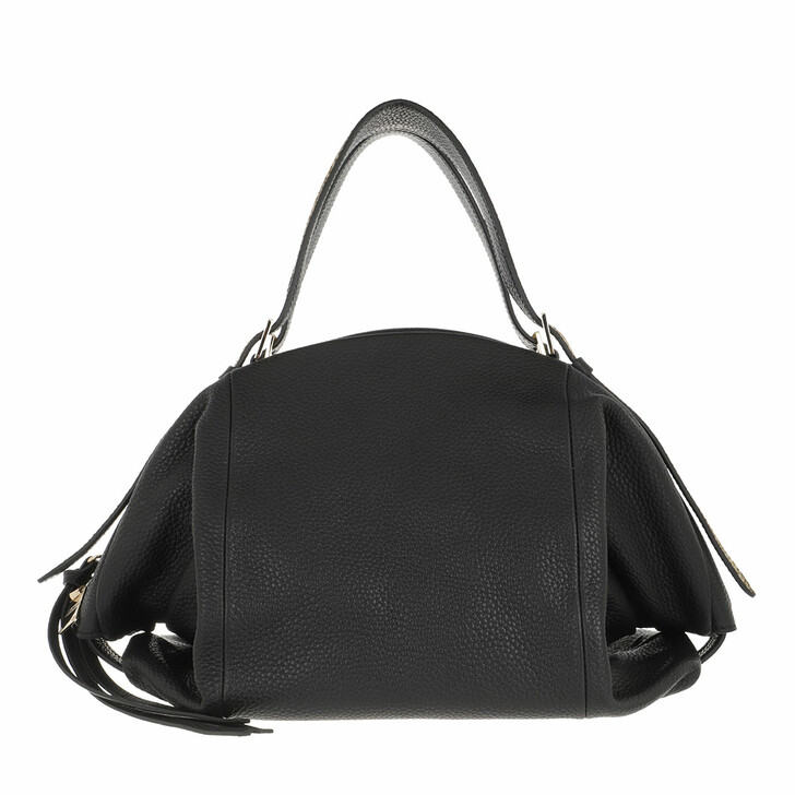 Handtasche, Borbonese, Medium Bubble Satchel Bag Black