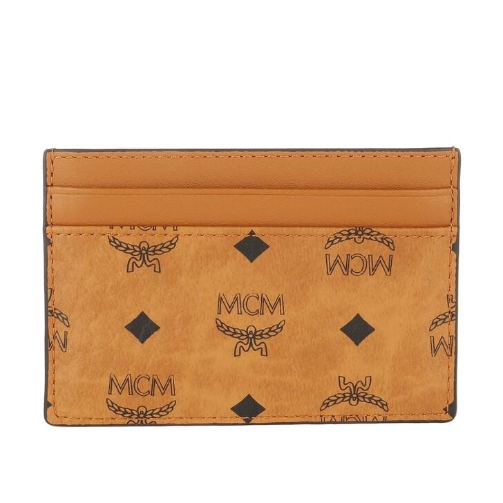 wallets, MCM, Visetos Original Mini Card Case Cognac