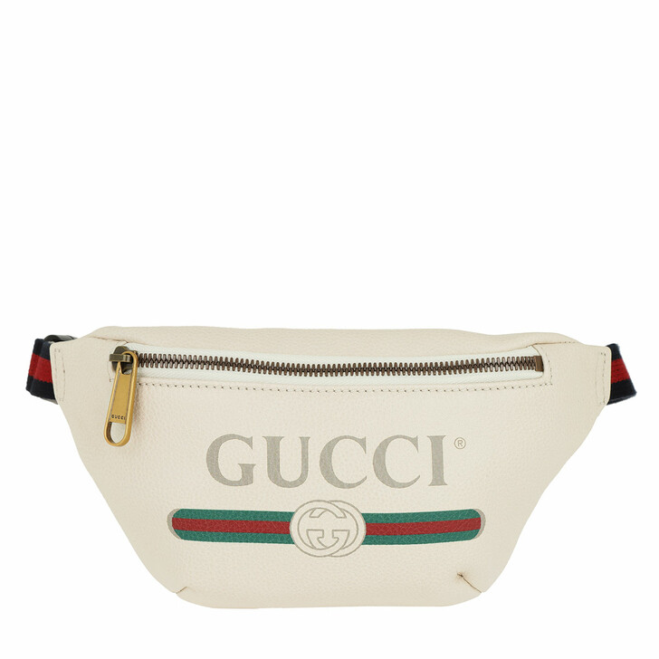 Reisetasche, Gucci, Gucci Print Belt Bag Small Leather White
