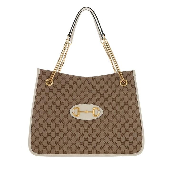 Handtasche, Gucci, Horsebit 1955 Large Tote Bag Leather Ebony/White