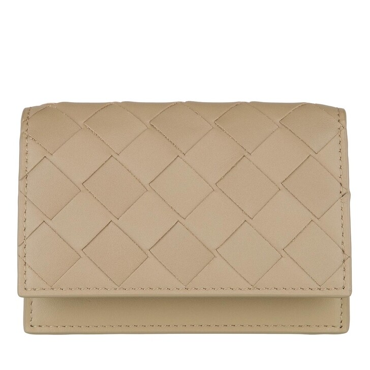 Geldbörse, Bottega Veneta, Woven Card Holder Leather Taupe
