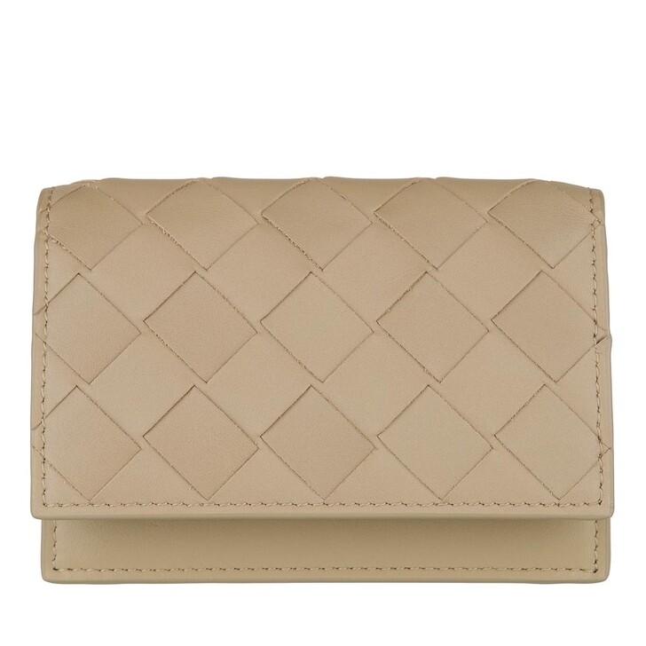 Geldbörse, Bottega Veneta, Woven Card Holder Leather Taupe