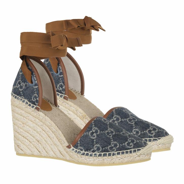 Schuh, Gucci, Plateau Espadrilles Blue Tea/Brown