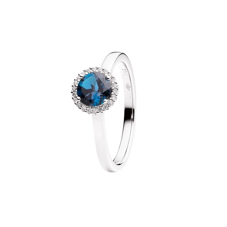 Ring, Capolavoro, Ring Espressivo Topas London Blue Faceted White Gold