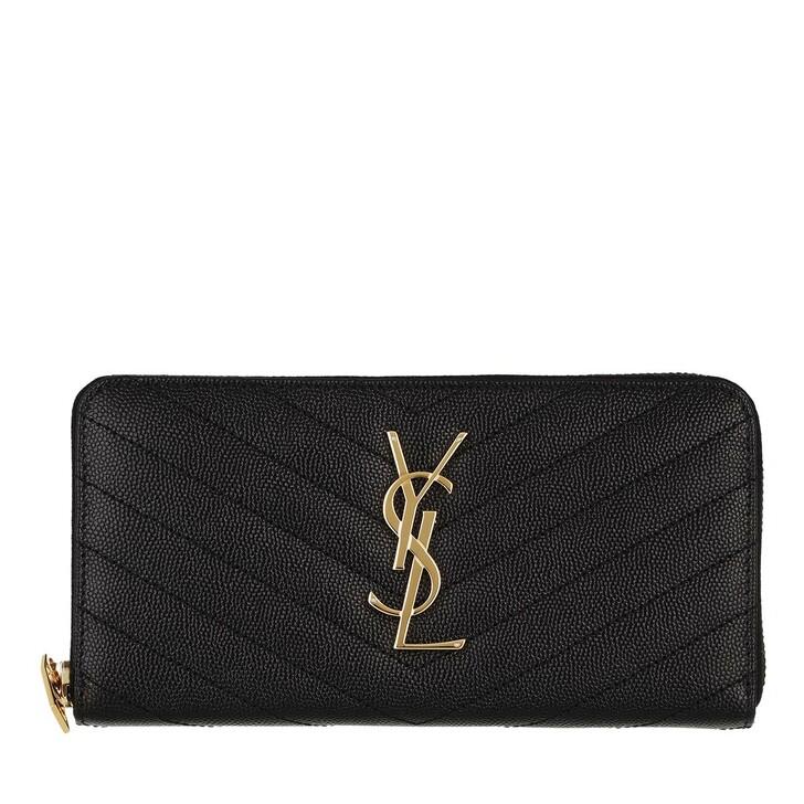 wallets, Saint Laurent, Monogramme Grain De Poudre Zip Around Wallet Nero