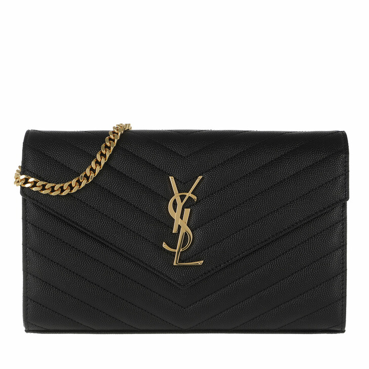 Geldbörse, Saint Laurent, Monogramme Chain Wallet Black