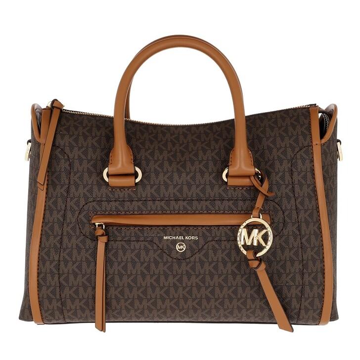 Handtasche, MICHAEL Michael Kors, Carina MD Satchel Bag Brown Acorn