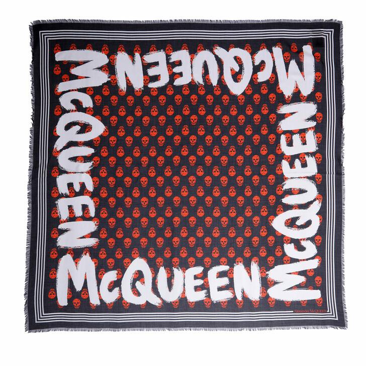 scarves, Alexander McQueen, Logo Shawl Black/Orange