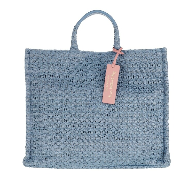 bags, Coccinelle, Handbag Straw Fabric Pacific Blue