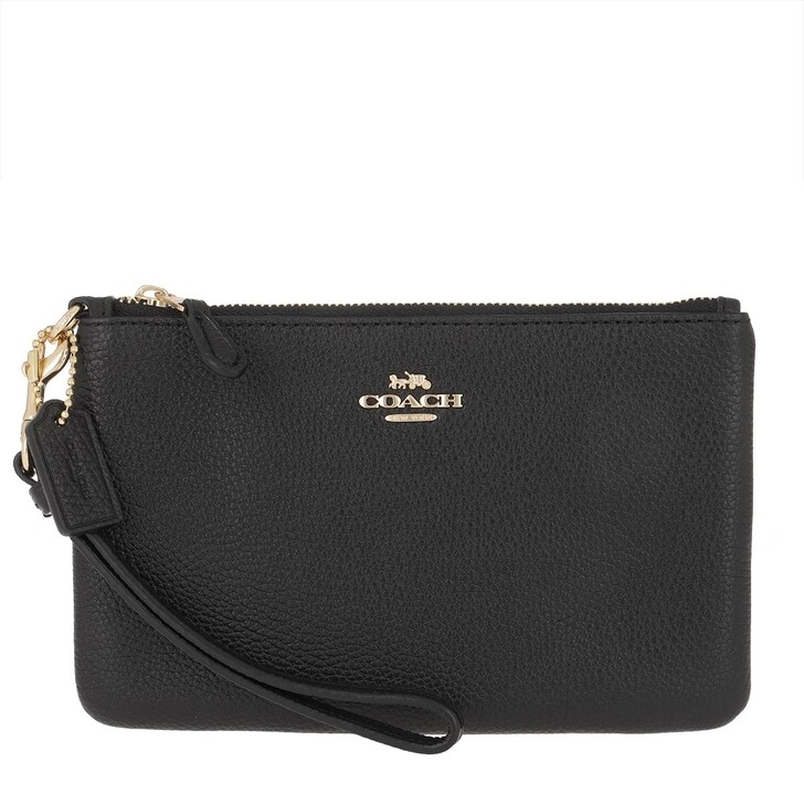 Geldbörse, Coach, Polished Pebble Small Wristlet Li/Black