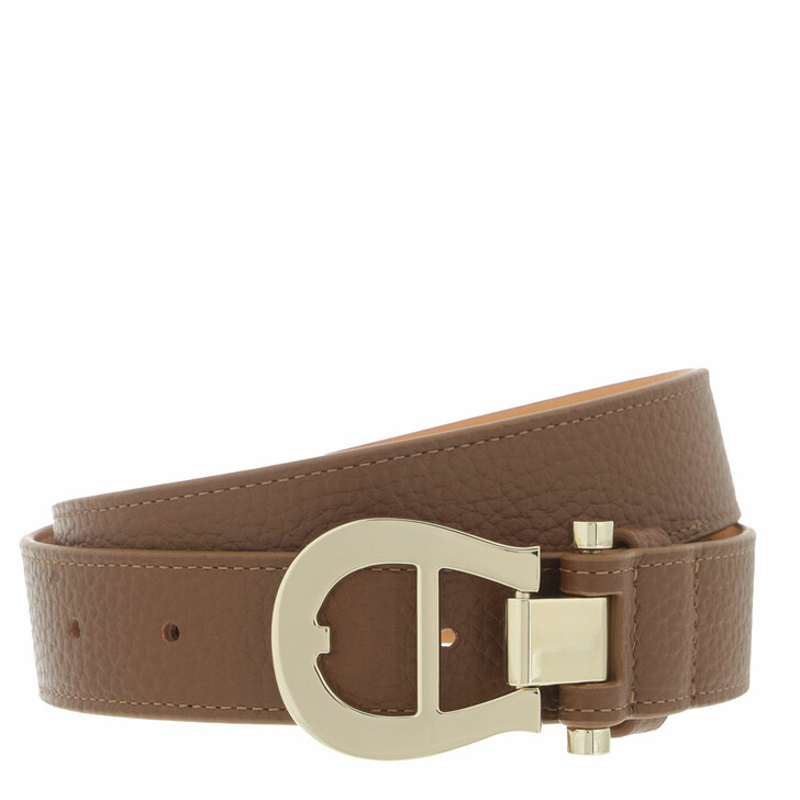 belts, AIGNER, Logo Belt 3 cm Dark Toffee Brown