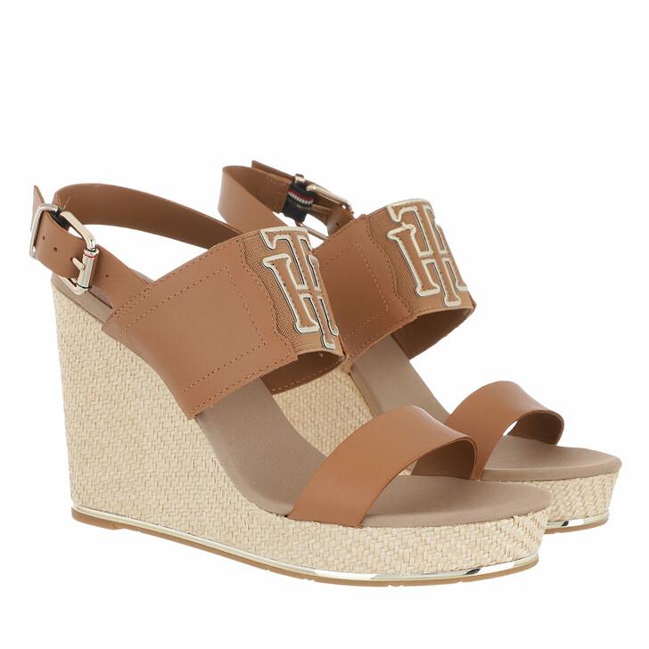 Schuh, Tommy Hilfiger, TH Elastic High Wedge Sandals Summer Cognac