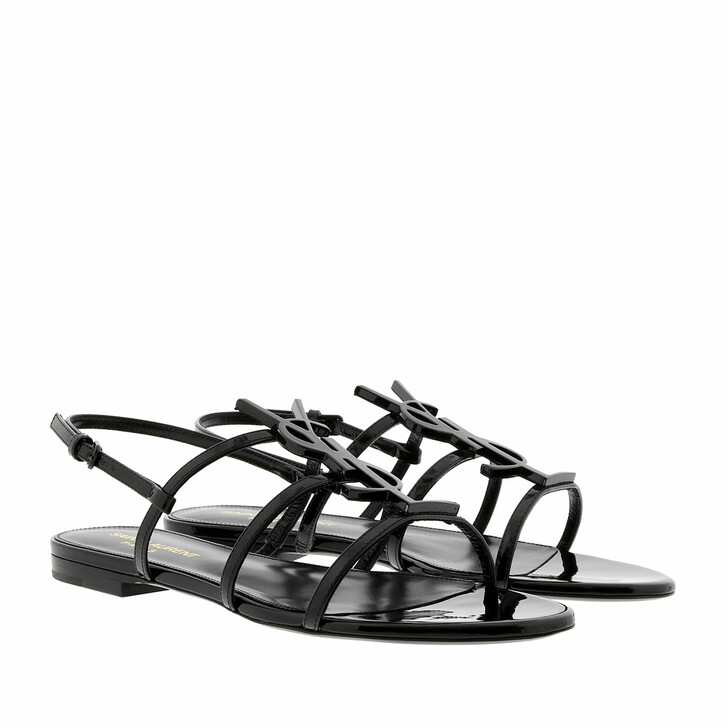 Schuh, Saint Laurent, Cassandra Open Sandals Patent Leather Black