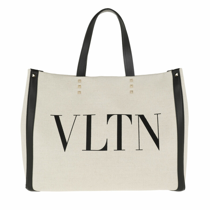 Handtasche, Valentino, Logo Shopping Bag Small Natural/Black/Black