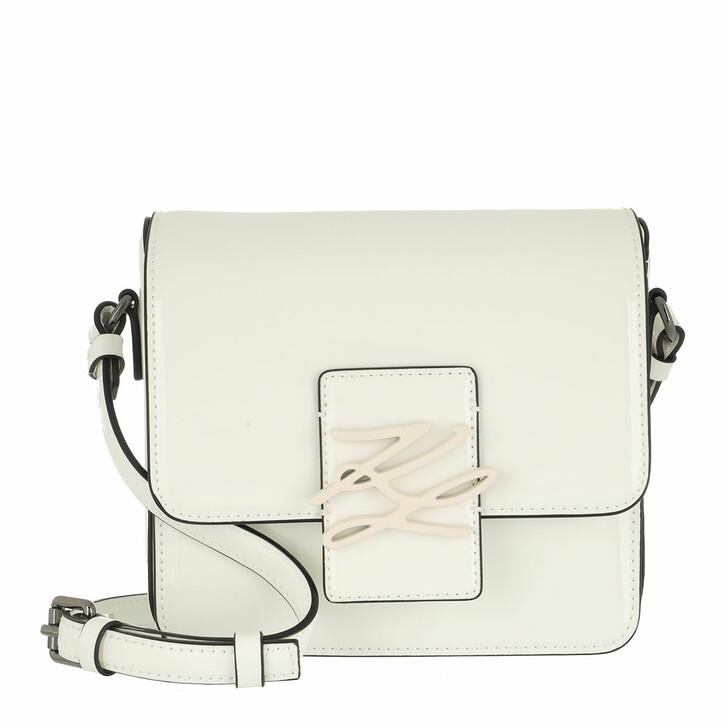 bags, Karl Lagerfeld, Autograph Crossbody Patent White