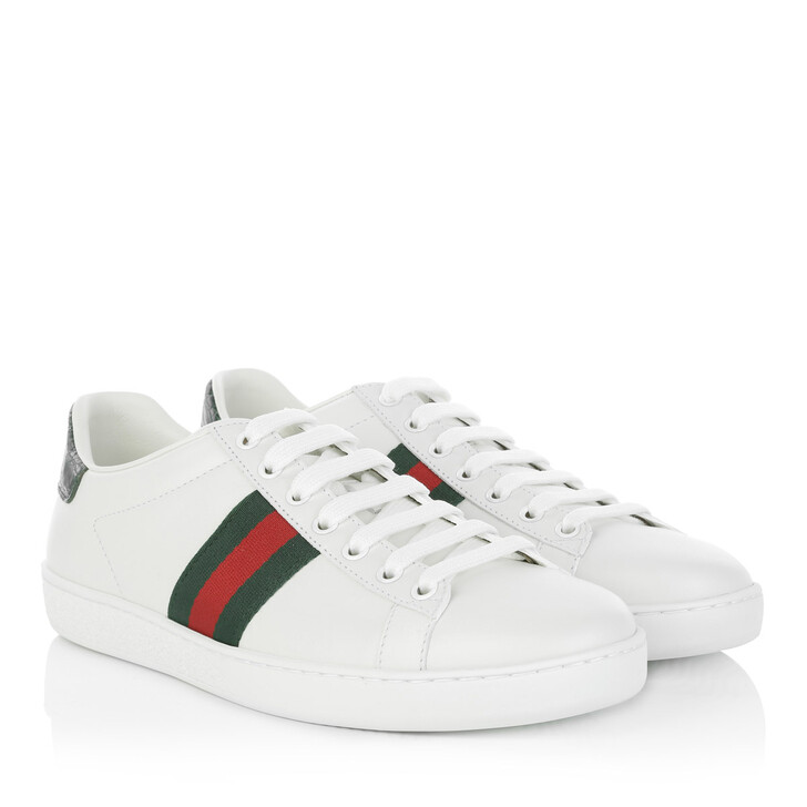 Schuh, Gucci, Leather Low-Top Sneakers White
