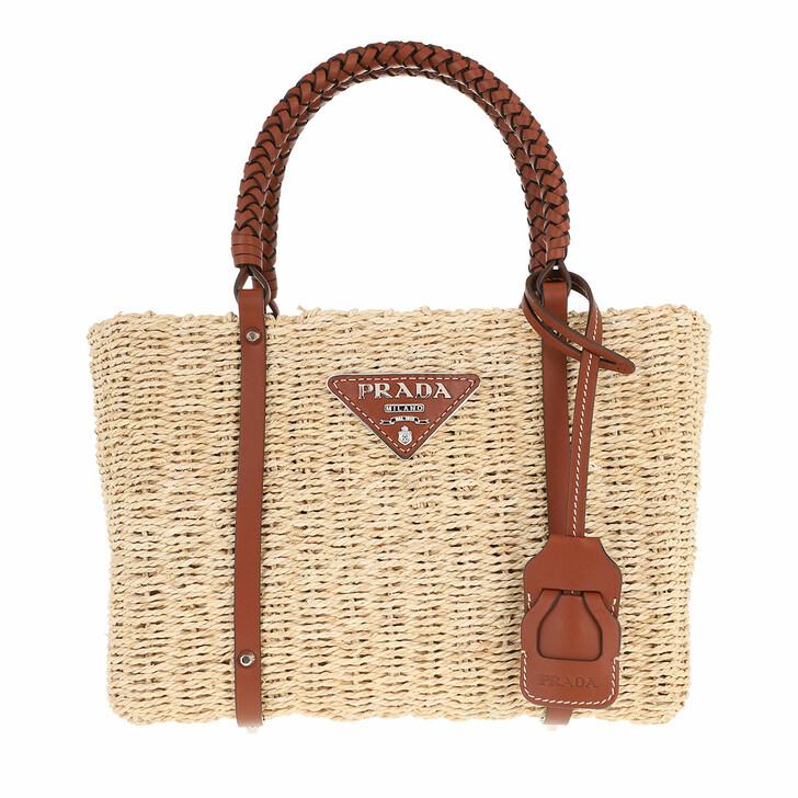 Handtasche, Prada, Tote Bag Corn Husk Leather Natural Cognac