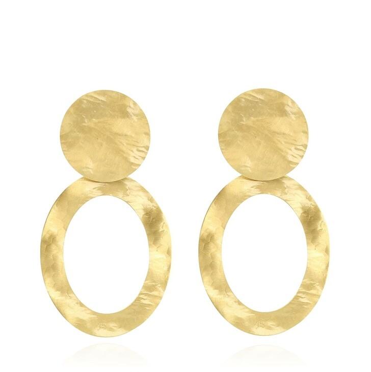 Ohrring, LOTT.gioielli, Earring Oval Hammerd XL Gold
