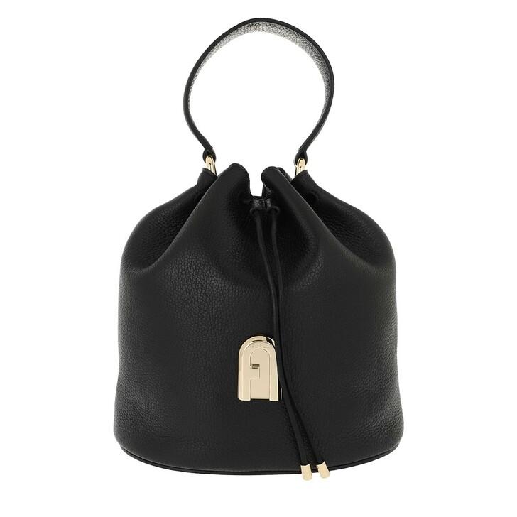 Handtasche, Furla, Sleek Small Drawstring Nero Toni Nero